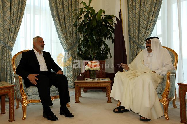 Palestinian Prime Minister in Gaza Strip, Ismail Haniyah meets with the Qatari Emir Sheikh Hamad bin Khalifa Al Thani in the Qatari capital of Doha on Jan. 31,2012. Photo by Mohammed Al-Ostaz