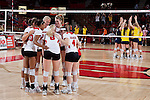 Wisconsin Badgers volleyball team huddles during an NCAA volleyball match against the Michigan Wolverines at the Field House on October 30, 2010 in Madison, Wisconsin. Michigan won the match 3-1. (Photo by David Stluka)