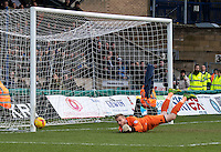 Goalkeeper Steve Mildenhall of Bristol Rovers makes a save during the Sky Bet League 2 match between Wycombe Wanderers and Bristol Rovers at Adams Park, High Wycombe, England on 27 February 2016. Photo by Kevin Prescod.
