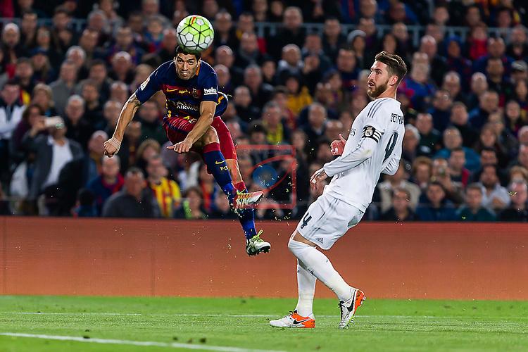 League BBVA 2015/2016 - Game: 31.<br /> FC Barcelona vs R. Madrid: 1-2.<br /> Luis Suarez vs Sergio Ramos.