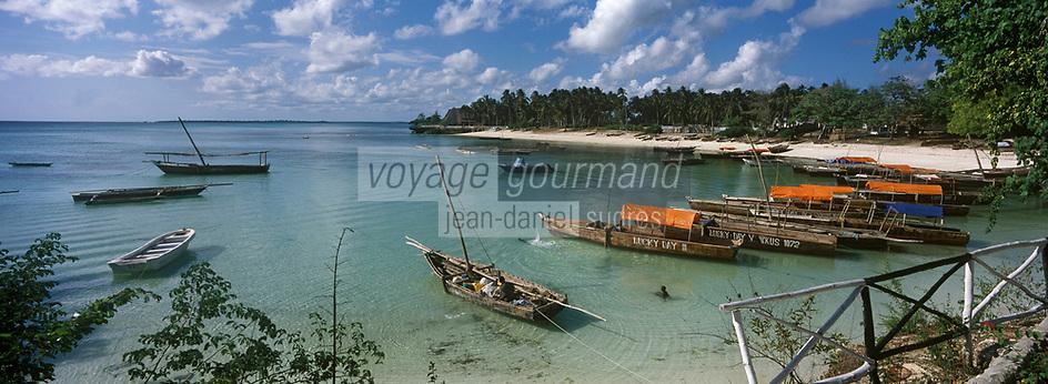 Afrique/Afrique de l'Est/Tanzanie/Zanzibar/Ile Unguja/Kizimkazi: le village de pêcheurs - Boutres au mouillage