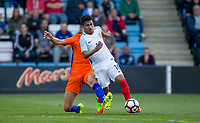 Marcus Edwards of England is fouled resulting a the free kick for a goal during the International friendly match between England U20 and Netherlands U20 at New Bucks Head, Telford, England on 31 August 2017. Photo by Andy Rowland.