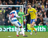Leeds United's Aapo Halme competing with Queens Park Rangers' Aramide Oteh<br /> <br /> Photographer Andrew Kearns/CameraSport<br /> <br /> The Emirates FA Cup Third Round - Queens Park Rangers v Leeds United - Sunday 6th January 2019 - Loftus Road - London<br />  <br /> World Copyright &copy; 2019 CameraSport. All rights reserved. 43 Linden Ave. Countesthorpe. Leicester. England. LE8 5PG - Tel: +44 (0) 116 277 4147 - admin@camerasport.com - www.camerasport.com