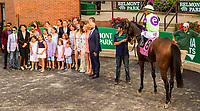ELMONT, NY - JULY 08:  New Money Honey#8u, ridden by Javier Castellano, wins the Belmont Oaks Invitational Stakes at Belmont Park on July 8, 2017 in Elmont, New York (Photo by Sue Kawczynski/Eclipse Sportswire/Getty Images)