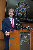 Tom Murray, CEO of the Charlotte Regional Visitors Authority, addresses the media after Sonic Automotive, Inc. was announced as the title sponsor of the 2016 Triple-A Baseball All-Star Game at BB&T Ballpark on February 17, 2016 in Charlotte, North Carolina.  The Triple-A Baseball All-Star game and associated events will take place July 11-13, 2016 at BB&T Ballpark.  (Brian Westerholt/Four Seam Images)