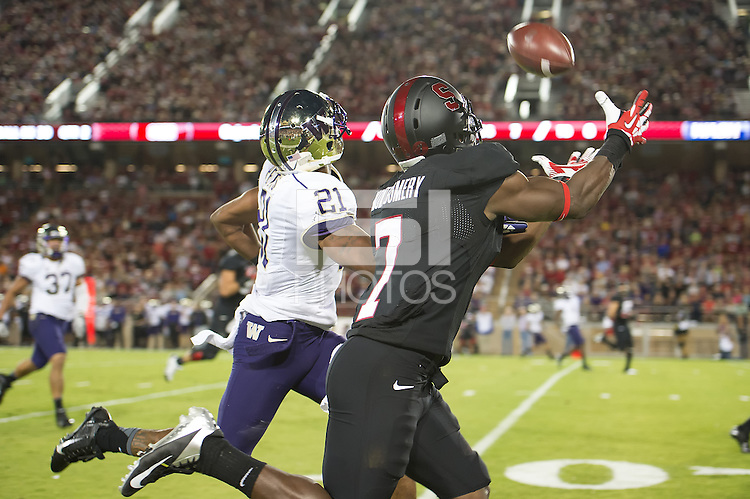 STANFORD, CA - October 5, 2013:   Stanford Cardinal wide receiver Ty Montgomery (7) catches a touchdown pass during the Stanford Cardinal vs the Washington Huskies at Stanford Stadium in Stanford, CA. Final score Stanford Cardinal 31, Washington Huskies  28.