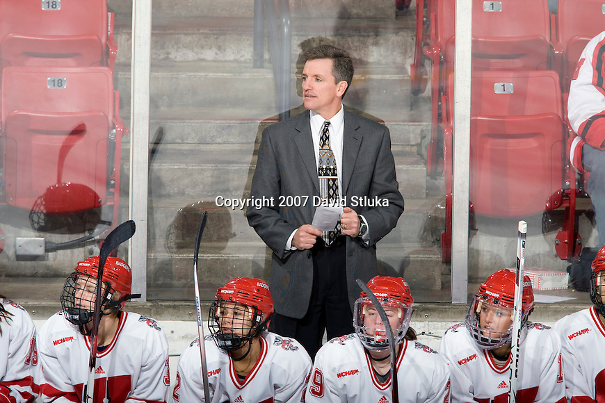 MADISON, WI - NOVEMBER 2: Head coach Mark Johnson of the Wisconsin Badgers women's hockey team looks on during the game against the Minnesota Golden Gophers at the Kohl Center on November 2, 2007, in Madison, Wisconsin. The Badgers beat the Golden Gophers 3-0. (Photo by David Stluka)