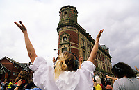 Pictured: A group of levitators dance opposite the Palace Theatre in Swansea. Sunday 16 July 2017<br />