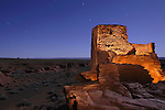 The moonlit Wukoki pueblo ruins in Wupatki National Monument, located near Flagstaff, Arizona