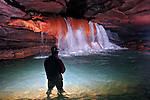 Beautiful waterfall in central Tennessee cave.