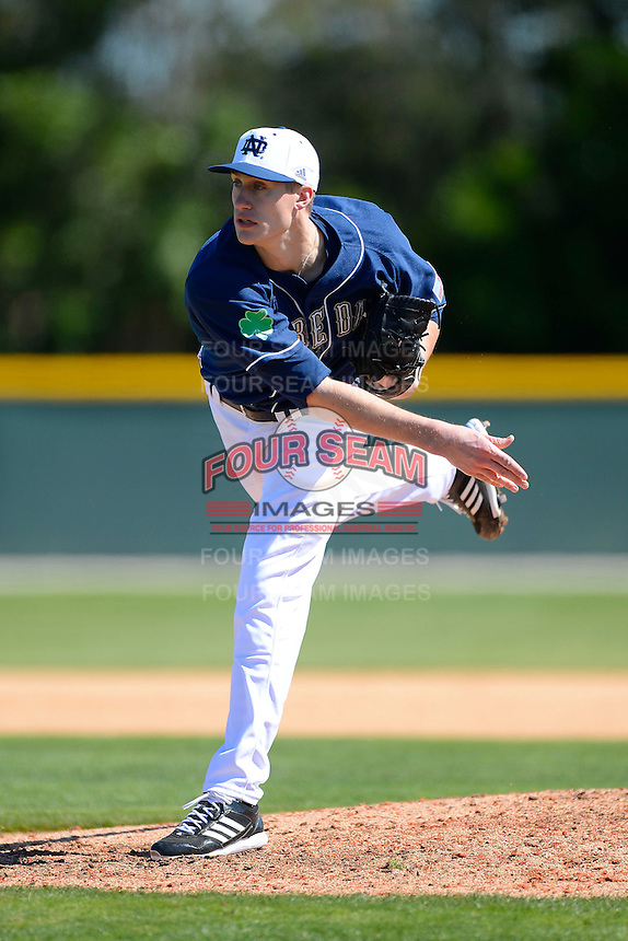 Notre Dame Fighting Irish pitcher Donnie Hissa #51 during a game against the Mercer Bears at the Buck O'Neil Complex on February 17, 2013 in Sarasota, Florida.  Mercer defeated Notre Dame 5-4.  (Mike Janes/Four Seam Images)