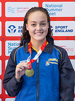 Picture by Allan McKenzie/SWpix.com - 05/08/2017 - Swimming - Swim England National Summer Meet 2017 - Ponds Forge International Sports Centre, Sheffield, England - Isabella Rose Berlin takes gold in the womens 16yrs 50m breaststroke.