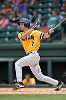 Shortstop Tripp Shelton (2) of the UNC Greensboro Spartans bats in a game against the Furman Paladins at the Southern Conference Baseball Championship on Saturday, May 27, 2017, at Fluor Field at the West End in Greenville, South Carolina. UNCG won, 12-8. (Tom Priddy/Four Seam Images)