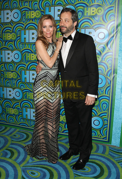 Leslie Mann, Judd Apatow<br /> HBO's Post Emmy Awards Reception Held at Pacific Design Center, West Hollywood, California, USA.<br /> September 22nd, 2013<br /> full length green black stripe dress tuxedo beard facial hair married husband wife zig zag<br /> CAP/ADM/KB<br /> &copy;Kevan Brooks/AdMedia/Capital Pictures