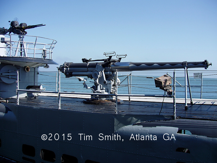 USS PAMPANITO (SS-383) - Machine gun and four-inch main deck gun, restored and docked near Fisherman's Wharf in San Francisco, California.