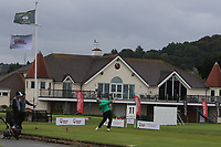Peter O'Keeffe from Ireland on the 11th tee during Round 3 Foursomes of the Men's Home Internationals 2018 at Conwy Golf Club, Conwy, Wales on Friday 14th September 2018.<br /> Picture: Thos Caffrey / Golffile<br /> <br /> All photo usage must carry mandatory copyright credit (&copy; Golffile | Thos Caffrey)