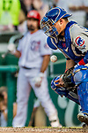 29 June 2017: Chicago Cubs catcher Willson Contreras blocks a pitch during a game against the Washington Nationals at Nationals Park in Washington, DC. The Cubs rallied against the Nationals to win 5-4 and split their 4-game series. Mandatory Credit: Ed Wolfstein Photo *** RAW (NEF) Image File Available ***