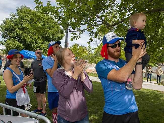 Runners are introduced at the start of the 2019 Reno Tahoe Odyssey at Wingfield park in Reno on May 31, 2019.