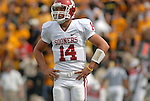 29 September  2007: Oklahoma's quarterback, Sam Bradford struggles during Colorado's 27-24 upset win over the Sooners  at Folsom Field, Boulder, Colorado.