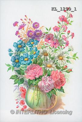 Interlitho, FLOWERS, paintings, flowers in vase(KL1299/1,#F#) stickers Blumen, flores, illustrations, pinturas ,everyday