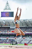 04.08.2012 Stratford, England. Great Britains Jessica Ennis (GBR) in action in the Long Jump part of the Womens Heptathlon during the Athletics on Day 8 of the London 2012 Olympic Games at the Olympic Stadium.