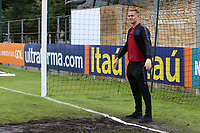 England goalkeeper, Nathan Bishop of Southend United, stands in the middle of the goal prior to kick-off, looking straight ahead and trying to avoid glancing in the direction of the muddy goalmouth during Guatemala Under-23 vs England Under-20, Tournoi Maurice Revello Football at Stade Marcel Cerdan on 11th June 2019