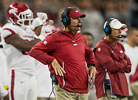 Hawgs Illustrated/Ben Goff<br /> Chad Morris, Arkansas head coach, in the 4th quarter vs Texas A&M Saturday, Sept. 29, 2018, during the Southwest Classic at AT&T Stadium in Arlington, Texas.