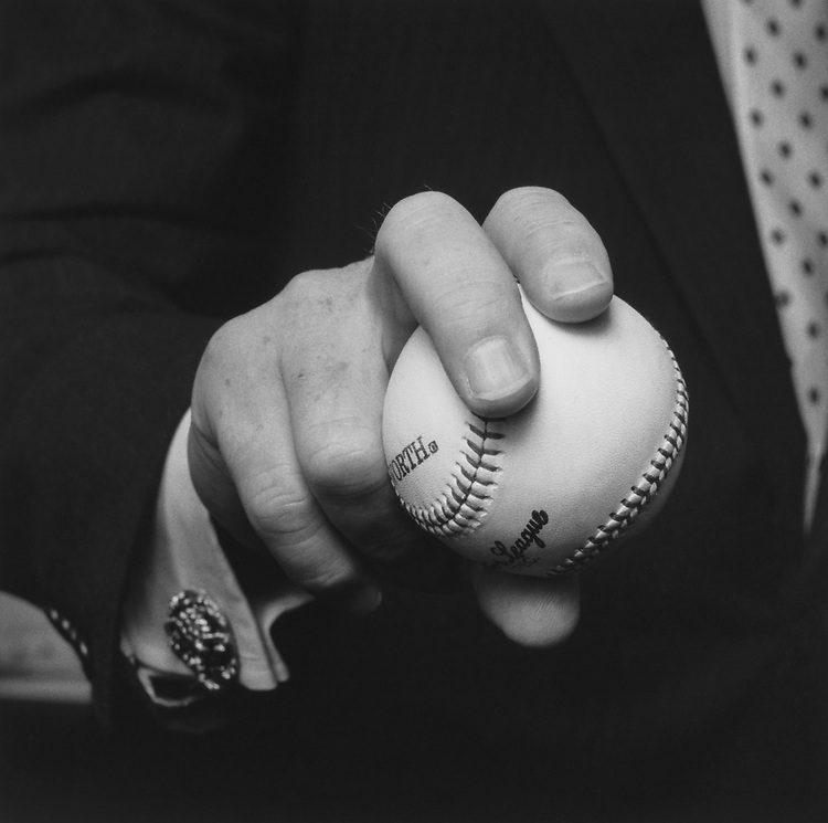 Close-up of Rep. Jim Bunning, R-Ky., holding baseball ball. (Photo by CQ Roll Call via Getty Images)