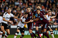 1st February 2020; Mestalla, Valencia, Spain; La Liga Football,Valencia versus Celta Vigo; Players from both teams prepare for a corner kick in the box