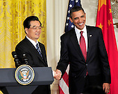 United States President Barack Obama and President Hu Jintao of China shake hands following a joint press conference in the East Room of the White House during the State Visit honoring President Hu on Wednesday, January 19, 2011. .Credit: Ron Sachs / CNP.(RESTRICTION: NO New York or New Jersey Newspapers or newspapers within a 75 mile radius of New York City)