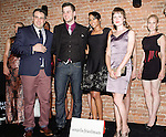 (Left to right front row) Mike Lavalle, CEO of Gojee, Tim Morehouse, Olympic Silver Medalist, Alicia Quarles, E! News New York Correspondent and fashion designer Angela Friedman posing in front of Ms. Friedmans collection during the inaugural Wear New York Fashion Week presentation at 393 Broadway on June 27, 2013.