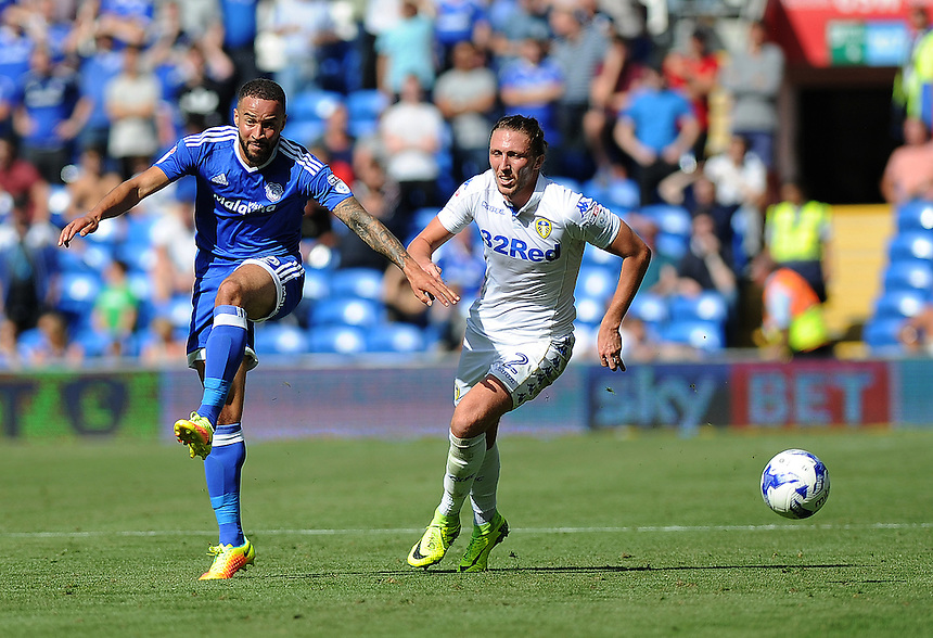 Cardiff City's Ashley Richards vies for possession with Leeds United's Luke Ayling<br /> <br /> Photographer Ashley Crowden/CameraSport<br /> <br /> The EFL Sky Bet Championship - Cardiff City v Leeds United - Saturday 17 September 2016 - Cardiff City Stadium - Cardiff<br /> <br /> World Copyright &copy; 2016 CameraSport. All rights reserved. 43 Linden Ave. Countesthorpe. Leicester. England. LE8 5PG - Tel: +44 (0) 116 277 4147 - admin@camerasport.com - www.camerasport.com