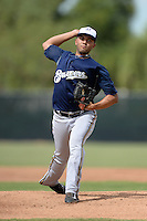 Milwaukee Brewers pitcher Jorge Ortega (47) during an Instructional League game against the Cincinnati Reds on October 6, 2014 at Maryvale Baseball Park Training Complex in Phoenix, Arizona.  (Mike Janes/Four Seam Images)