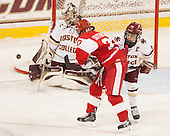 Samantha Sutherland (BU - 20), Emily Pfalzer (BC - 14) -  The Boston College Eagles defeated the visiting Boston University Terriers 5-0 on BC's senior night on Thursday, February 19, 2015, at Kelley Rink in Conte Forum in Chestnut Hill, Massachusetts.