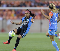 Samantha Johnson (16) of the Chicago Red Stars clears the ball from her side of the field in the second half against the Houston Dash on Saturday, April 16, 2016 at BBVA Compass Stadium in Houston Texas.