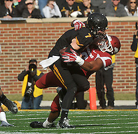 NWA Media/Michael Woods --11/28/2014-- w @NWAMICHAELW...University of Arkansas defensive end Trey Flowers sacks Missouri quarterback Maty Mauk in the 2nd quarter of Friday afternoons game against Missouri at Faurot Field in Columbia Missouri.