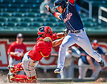 31 May 2018: New Hampshire Fisher Cats infielder Bo Bichette is tagged out at home by Portland Sea Dogs catcher Jhon Nunez in the 8th inning at Northeast Delta Dental Stadium in Manchester, NH. The Sea Dogs defeated the Fisher Cats 12-9 in extra innings. Mandatory Credit: Ed Wolfstein Photo *** RAW (NEF) Image File Available ***