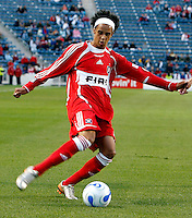 Chicago Fire forward Calen Carr (3) crosses the ball.  FC Dallas defeated the Chicago Fire 2-1 at Toyota Park in Bridgeview, IL on May 17, 2007.