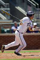 Second baseman Derek Odell #2 of the Texas Christian University Horned Frogs runs to first base during the NCAA Regional baseball game against the Ole Miss Rebels on June 1, 2012 at Blue Bell Park in College Station, Texas. Ole Miss defeated TCU 6-2. (Andrew Woolley/Four Seam Images)