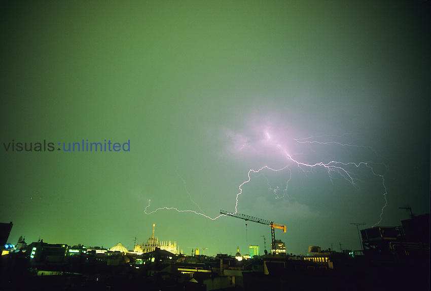Lightning, Milan, Italy. Lightning superheats the surrounding air which expands and vibrates, causing the sound of thunder which we hear later.