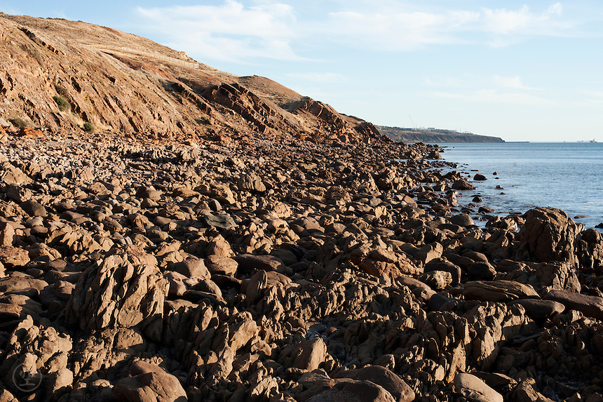The rocky, folded and crumbled shoreline at Marino Rocks exposes the complex geology of the Adelaide area, South Australia.