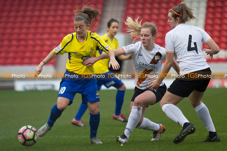 Christie Murray peels away from defenders during Doncaster Rovers Belles vs London Bees, FA Women's Super League FA WSL2 Football at the Keepmoat Stadium on 12th March 2017