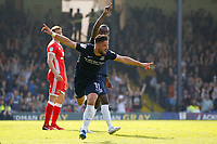 GOAL - Stephen McLaughlin of Southend United celebrates scoring during the Sky Bet League 1 match between Southend United and MK Dons at Roots Hall, Southend, England on 21 April 2018. Photo by Carlton Myrie.