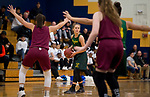 WATERBURY, CT-120818JS15- Holy Cross' Hannah Brown (4) looks to pass during their game against Sacred Heart in the Waterbury girls basketball jamboree Saturday at Kennedy High School. <br /> Jim Shannon Republican American