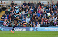 Marcus Bean of Wycombe Wanderers takes a shot at goal during the Sky Bet League 2 match between Wycombe Wanderers and Hartlepool United at Adams Park, High Wycombe, England on 5 September 2015. Photo by Andy Rowland.