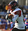 Joe Yarusso #11 of Plainedge returns a punt during a Nassau County Conference III varsity football game against host Roosevelt High School on Saturday, Oct. 13, 2018.