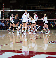 STANFORD, CA - December 1, 2018: Meghan McClure, Morgan Hentz, Kathryn Plummer, Holly Campbell, Jenna Gray, Kate Formico at Maples Pavilion. The Stanford Cardinal defeated Loyola Marymount 25-20, 25-15, 25-17 in the second round of the NCAA tournament.