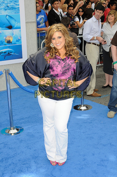 """KAYCEE STROH.Arrivals - Disneynature's Premiere Of """"Oceans"""" held At El Caitan Theatre, Hollywood, California, USA..17th April 2010.full length black pink top white jeans denim hands on hips print .CAP/ROT.©Lee Roth/Capital Pictures"""