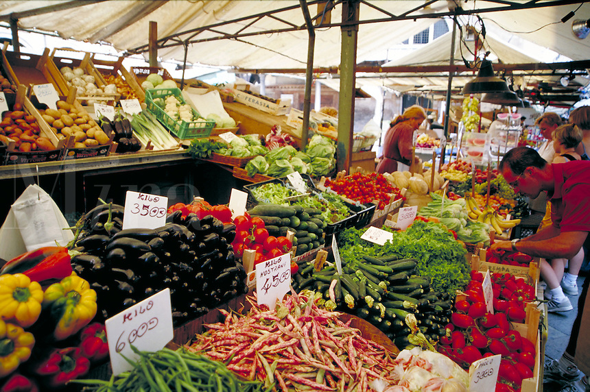 The produce market in Venice, Italy. agriculture, trade, shopping, food. Venice, Italy.
