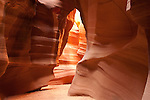 Sandstone walls of the Upper Antelope slot Canyon